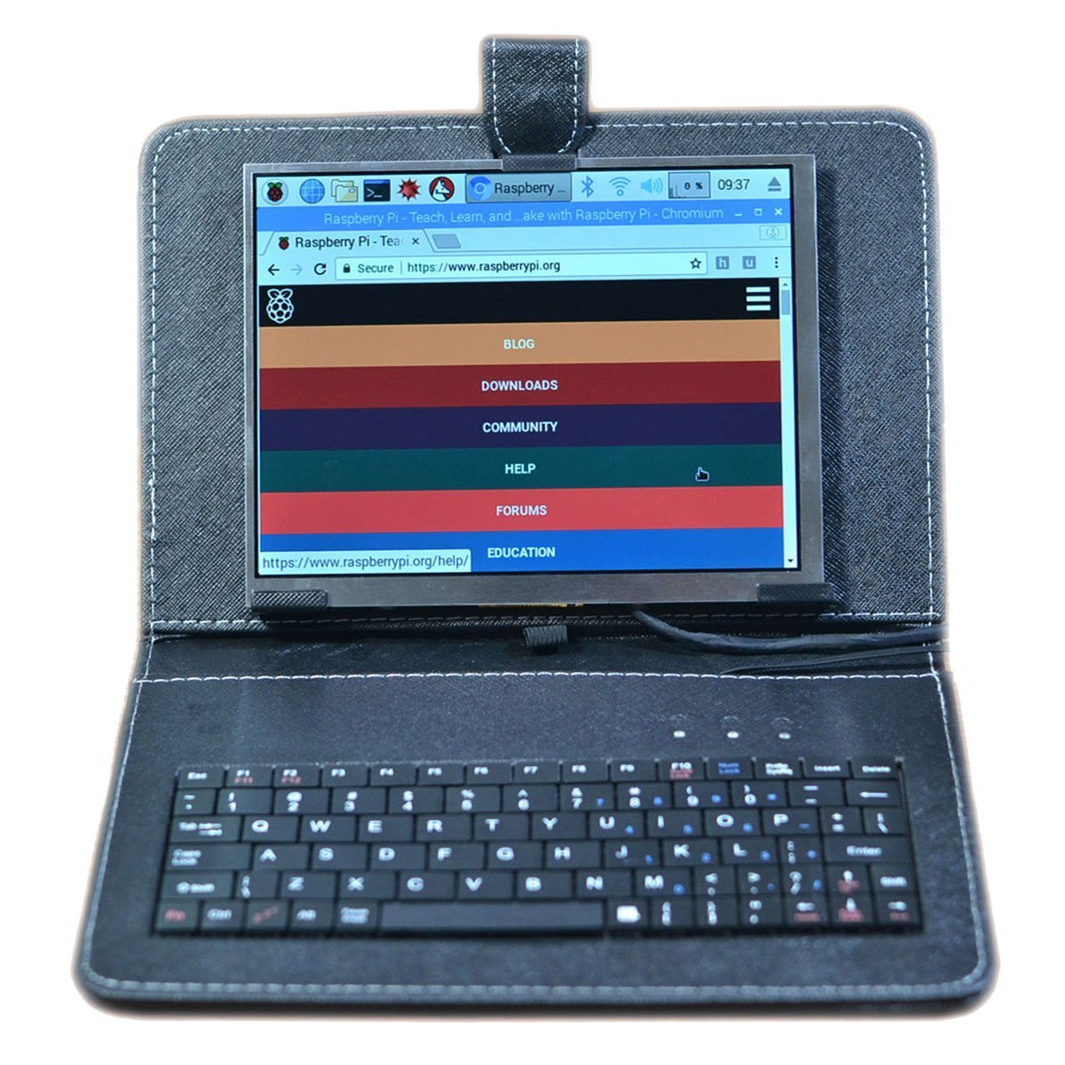 SUNKEE 8 Inch 1024x768 IPS Great Angle-Visibility and LCD Display For Raspberry Pi 3 B+ (B Plus) +HDMI With USB Leather Case Keyboard Wifi Adapter Mouse (No Raspberry Pi contain)
