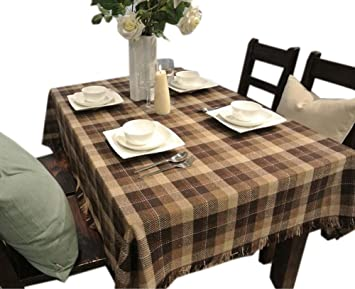 Superior [Brown Plaid] Country Style Tablecloths/Table Cloths/Table Cover (130180CM)
