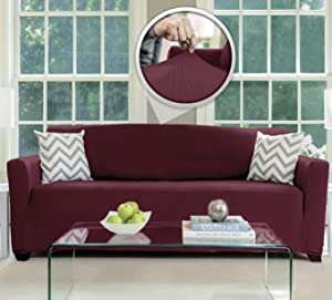 Sofa, Shield Original Fitted 1 Piece Large Sofa Protector, Many Colors, Seat Width up to 70 Inch, Stretchy Furniture Slipcover, Fastener Straps, Spandex Couch Slip Cover Throw for Pets, Dogs, Burgundy