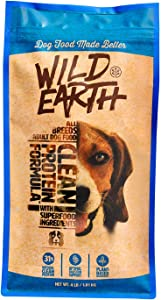 Wild Earth Healthy High-Protein Formula Dry Dog Food with No Filler Ingredients, Veterinarian-Developed Vegan Pet Food for All Adult Dog Breeds (4-Pound Bag)