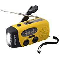 (Upgraded Version) iRonsnow Solar Emergency NOAA Weather Radio Dynamo Hand Crank Self Powered AM FM WB Radios 1 LED Flashlight 1000mAh Smart Phone Charger (Yellow)