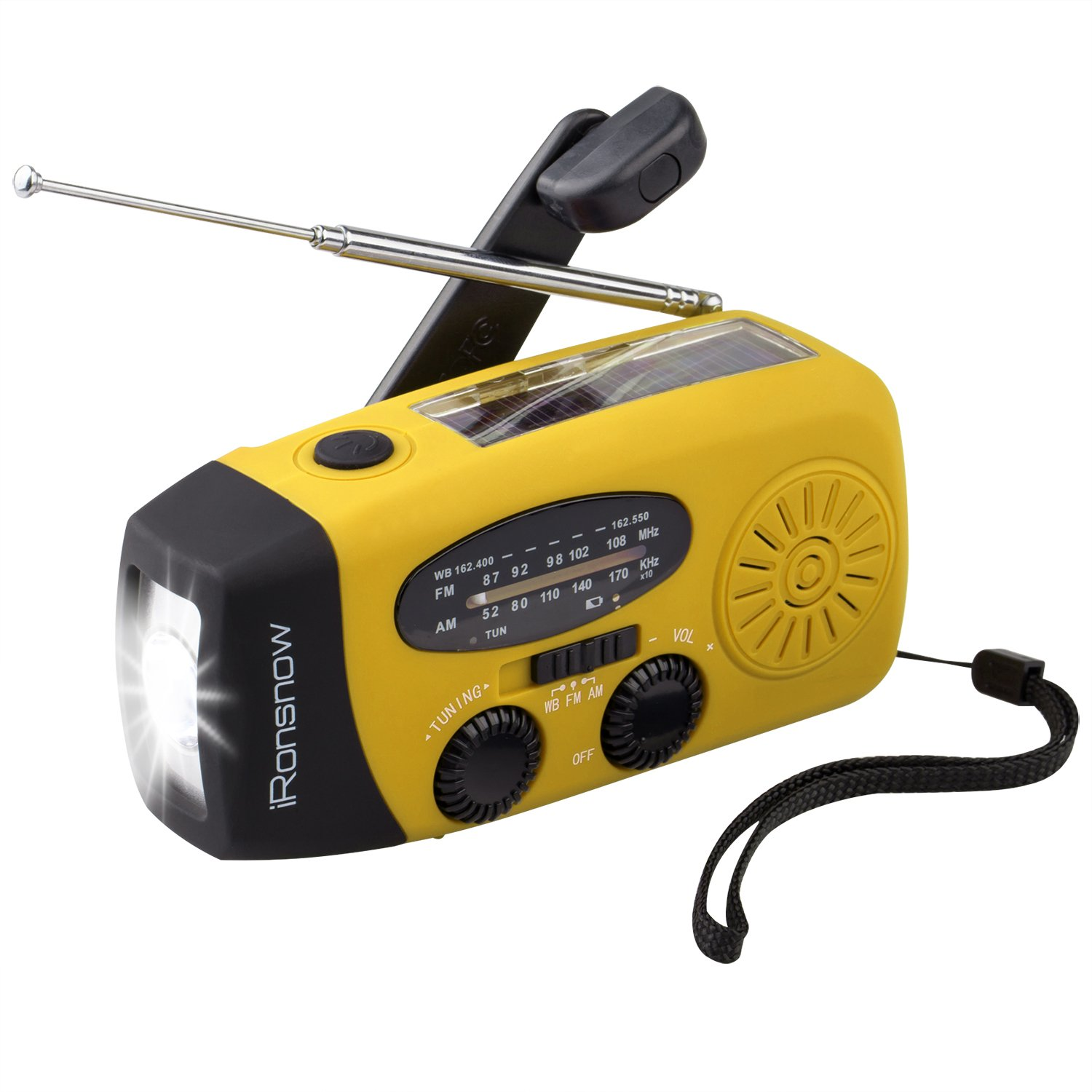 iRonsnow 2017 Version IS-088U+ Dynamo Solar Hand Crank Self Powered AM/FM/NOAA Weather Radio with LED Flashlight and 1000mAh Emergency Power Bank (Yellow)