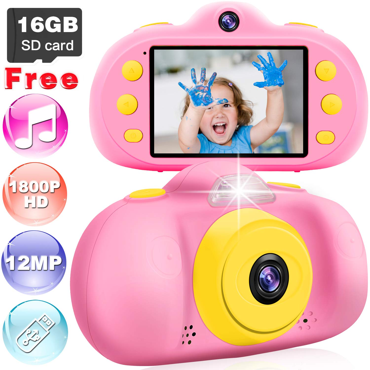 Kids Camera Gifts for Girls, 12.0MP HD 1080P Child Cameras with MP3 Player, LCD Screen Mini Camcorder Outdoor Play Toy Baco to School Gift for 4-8 Year Old Toddlers(16GB Memory Card Included), Pink by GreaSmart (Image #1)