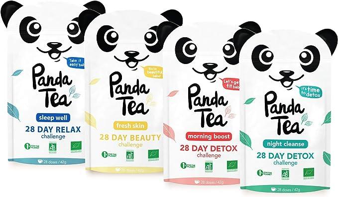 Panda Tea – Té Certificado bio- caja de 4 mezclas (112 bolsas) – reto detox, relajación, belleza, Biológico: Amazon.es: Salud y cuidado personal