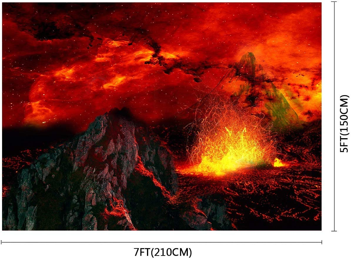 10x8ft Nature Background Flame Mountain Photography Backdrop Props Photo Wall Banner LHFU286