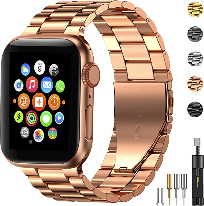Fitlink Stainless Steel Metal Band for Apple Watch 38/40/42/44mm Strap Replacement Link Bracelet Band Compatible with Apple Watch Series 6 Apple Watch Series 5 Apple Watch Series 1/2/3/4(Rose Gold,38/40mm)