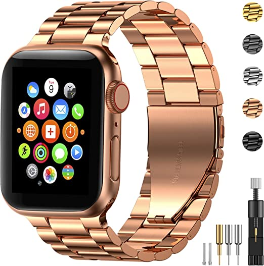 Amazon Com Fitlink Stainless Steel Metal Band For Apple Watch 38 40 42 44mm Strap Replacement Link Bracelet Band Compatible With Apple Watch Series 6 Apple Watch Series 5 Apple Watch Series 1 2 3 4 Rose Gold 38 40mm