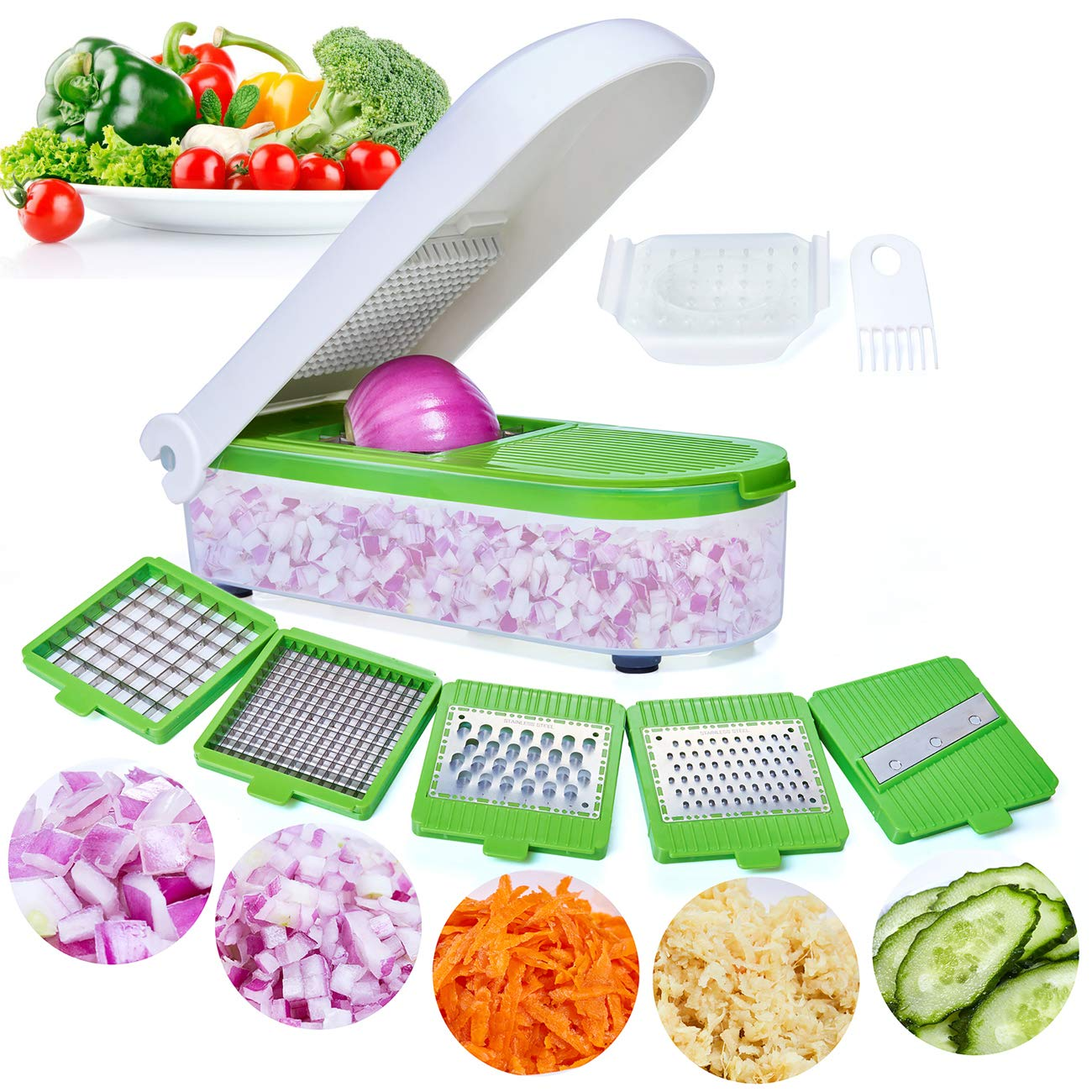 LHS Vegetable Chopper,Pro Onion Chopper Slicer Dicer Cutter - Cheese & Veggie Chopper - Food Chopper Dicer with 5 Blades by LHS