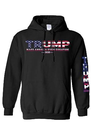 0216a3e82 SHORE TRENDZ Unisex Trump USA Make America Even Greater Pullover  Hoodie.Black.Small