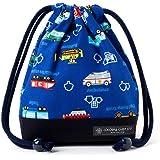 巾着袋・小 コップ袋 アクセル全開はたらく車(ロイヤルブルー) × オックス・紺 N3569600