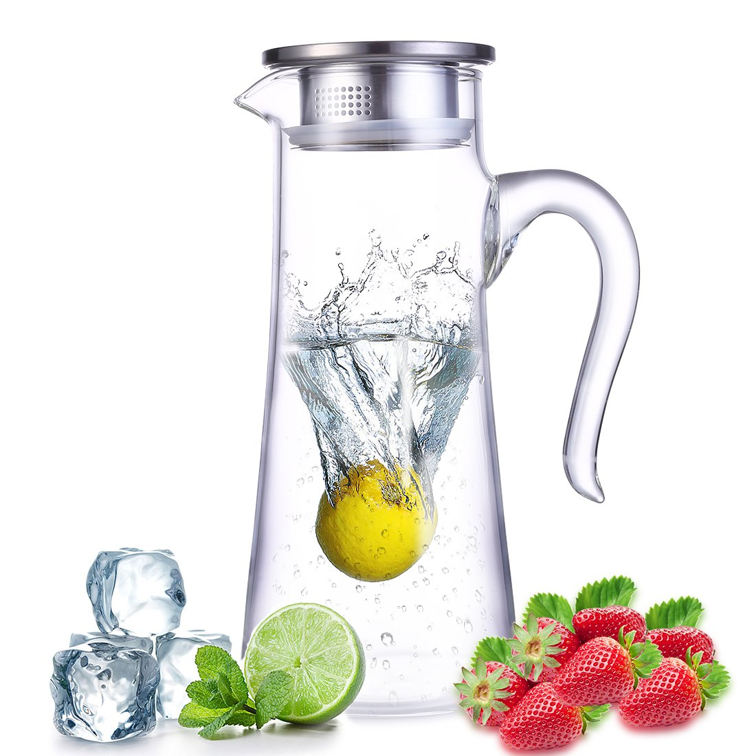 oneisall Borocilicate Glass Pitcher with bamboo lid Portable Handle - Glass Carafes with stainless steel strainer - Perfect For Water,Tea,Juice,milk DHTUS628 (1.8L) (1.5L)