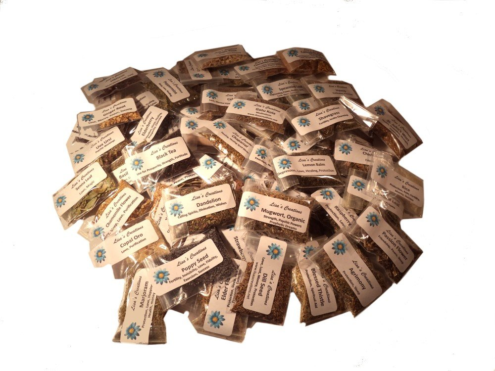 Lisa's Creations, Inc - 60 Herb Sampler Kit - with Five(5) Handmade Muslin Bags (3''x5'')