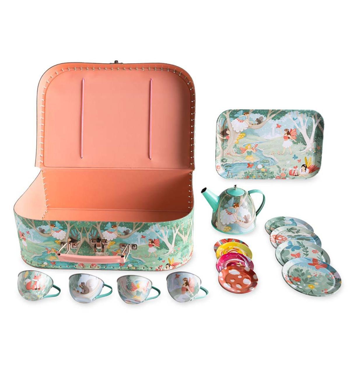 HearthSong® Fairy Tea Set - 15 Piece Unbreakable Tin Tea Set Kids Pretend Play Tea Party