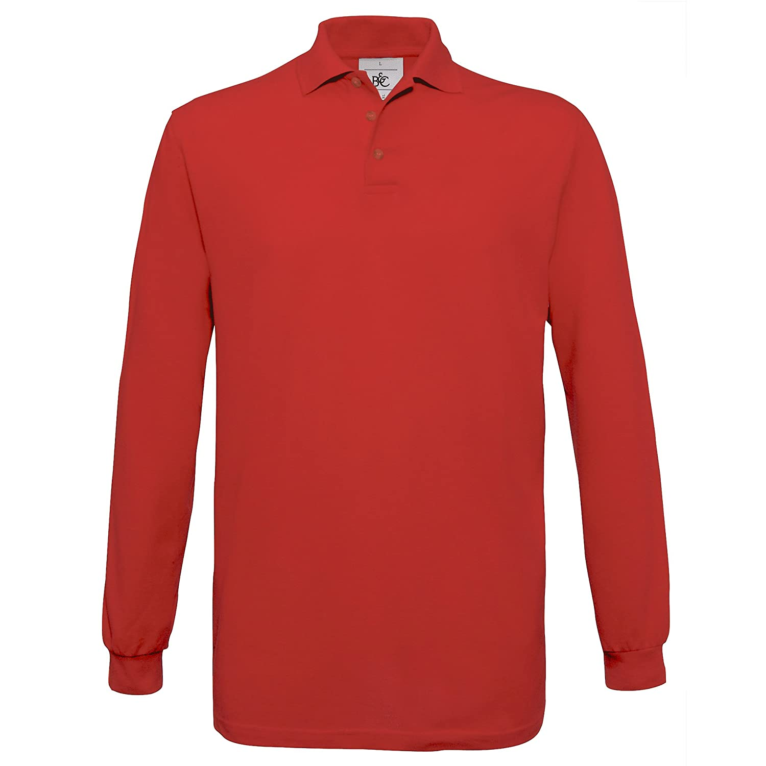 B&C Mens Safran Long Sleeve Cotton Polo Shirt