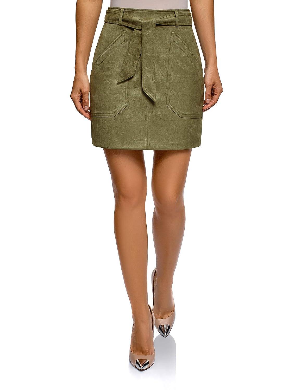 Green (6600n) oodji Ultra Women's Belted Faux Suede Skirt