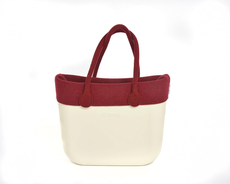 Authentic Italian O Bag with Cherry Felt Trim and Matching Felt Handles