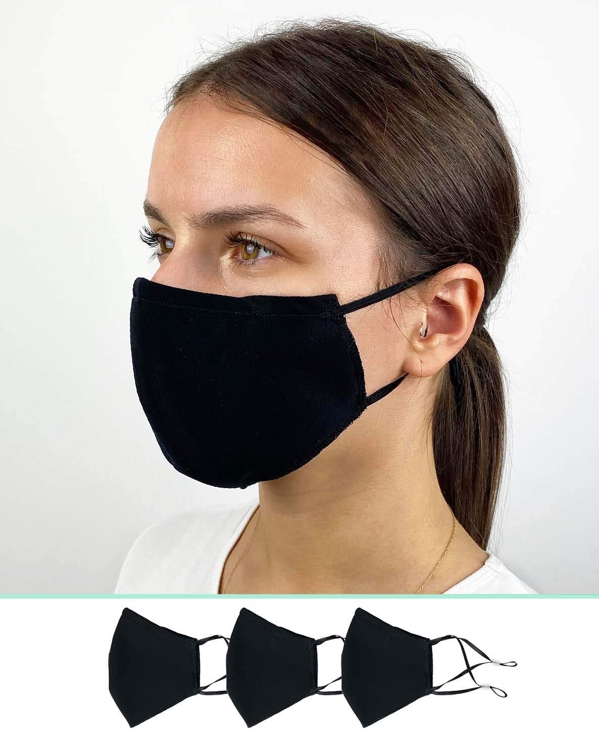 Pack de 3 Mascarillas Reutilizables y Lavables de Tela Algodon Homologadas - Comodas y Respirables - Máscaras Certificadas (Negras)