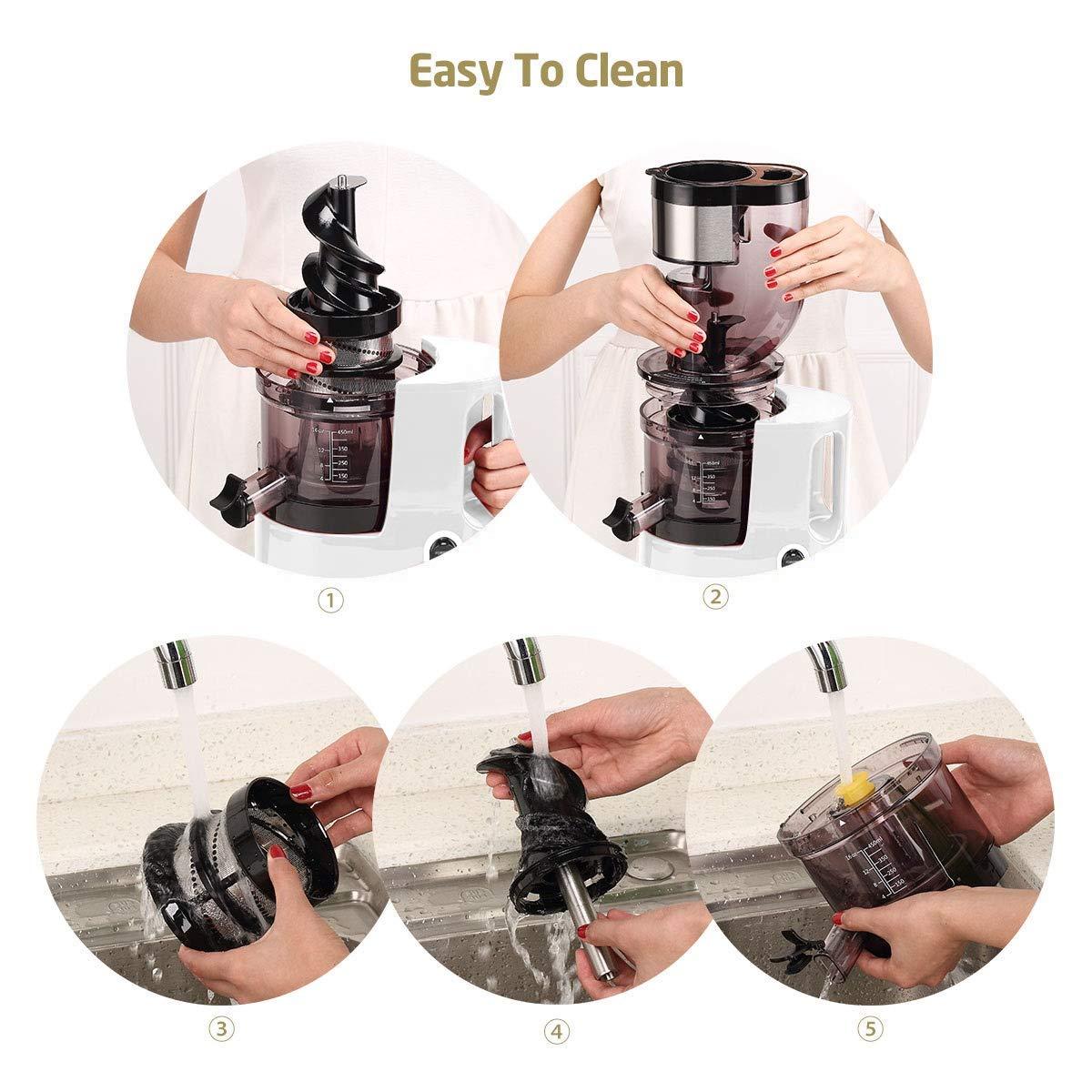 SKG Slow Masticating Juicer Wide Chute Cold Press Juicer Machine BPA Free (200W AC Motor, 45 RPM), White by SKG (Image #4)