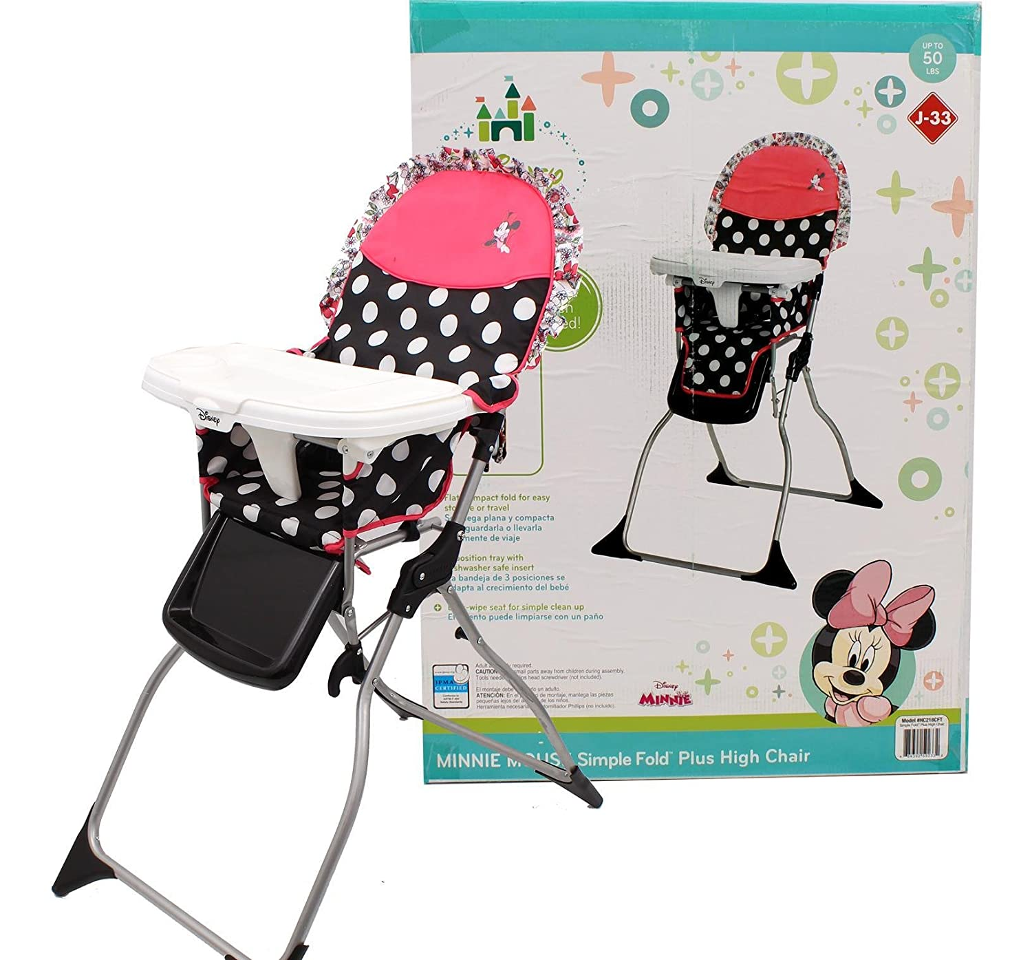 Amazon.com : Disney Baby Minnie Mouse Coral Flowers Fast Pack High Chair : Baby