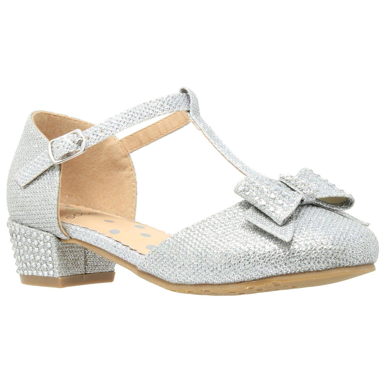 SOBEYO Girls Low Heels Pumps T-Strap Bow Accent Glitter Rhinestone Mary Jane Kids Sandals