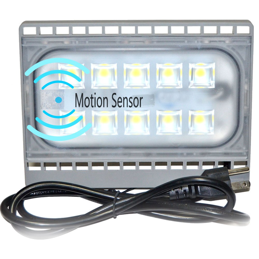 Super Bright LED Motion Sensor Light 30 Watts 3000LM Outdoor Flood Light,Built-in Motion Sensor AC110v 5500k IP65 with US 3-Plug