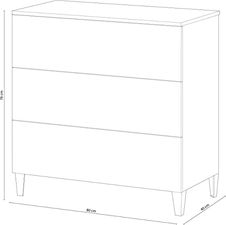 Habitdesign 007833BO - Comoda Estilo nórdico, sinfonier Tres cajones, Acabado Blanco Brillo, Medida 76 x 80 x 40 cm Fondo