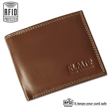 Money Wallet Gent Soft Leather Bi-Fold RFID Protected Coin Mens