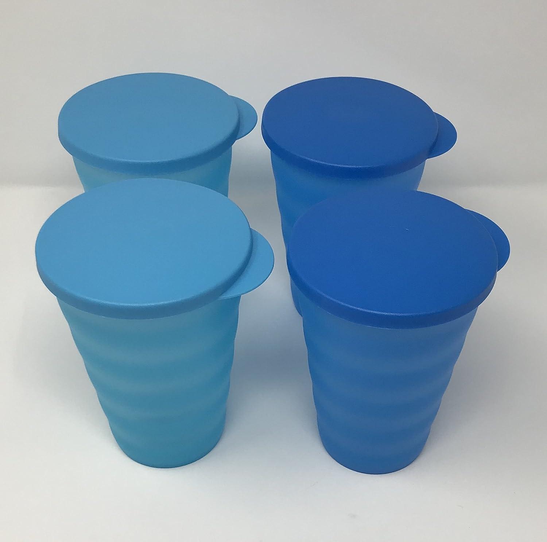 Tupperware Impressions gobelets 453,6/gram Lot de 4/Bleu pas de trous de paille