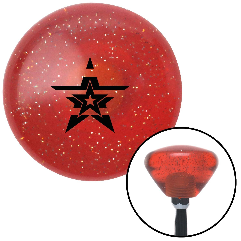 Black Star in a Star in a Star American Shifter 179915 Orange Retro Metal Flake Shift Knob with M16 x 1.5 Insert