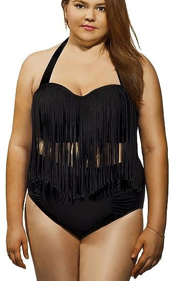 f5d03ad4a5050 Women s Retro Plus Size Push Up Padded High Waist Fringe Bikini Tassel  Beachwear Black L