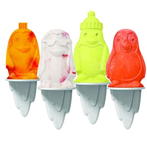 Tovolo Penguin Ice Pop Molds, Flexible Silicone, Dishwasher Safe, Set of 4 Popsicle Makers with Sticks