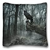 My Honey Pillow Pillow Cover poe the crow raven gothic trees darl mood 18 in*18 Twin Sides