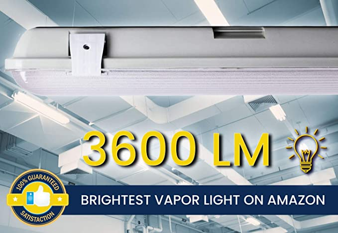 Orilis 4 Ft 72W  Vapor Water Tight Hardwired LED Fixture 4500K Shop Light IP65