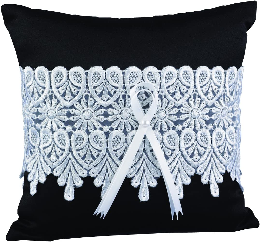 Hortense B. Hewitt Wedding Accessories Timeless Treasure Ring Pillow, Black