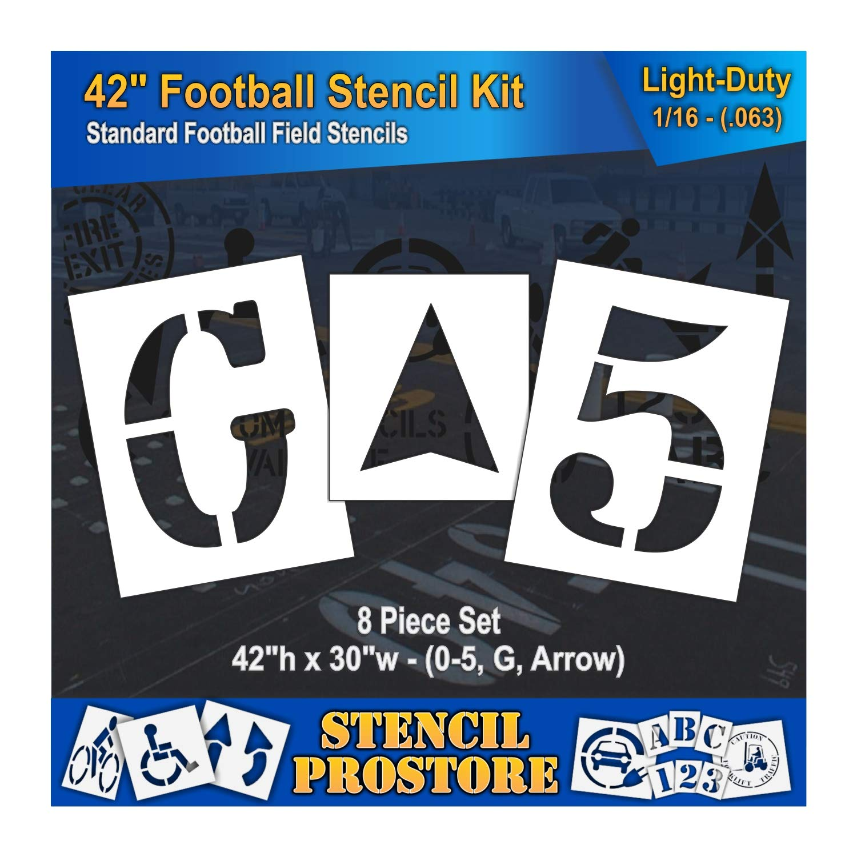 Athletic Marking Stencils - 42 inch - Football Field Number Stencils - (8 Piece) - 42'' x 30'' x 1/16'' (63 mil) - Light-Duty by Stencil ProStore