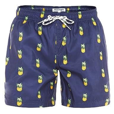 12c34418ed MaaMgic Mens Quick Dry Pineapple Swim Trunks with Mesh Lining Swimwear  Bathing Suits, Navy Blue1