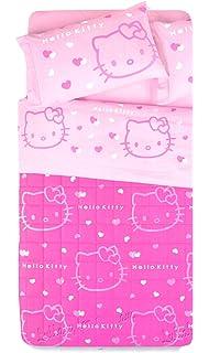 Copriletto Hello Kitty Singolo.Hello Kitty Completo Lenzuola Copriletto Una Piazza Outline Fuxia