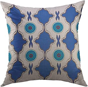 Mugod Floral Decorative Throw Pillow Cover for Couch Sofa,Blue Moorish North African Inspired Moroccan Home Decor Pillow case 18x18 Inch