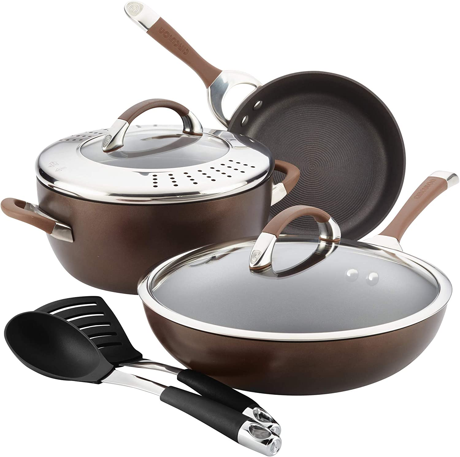 Circulon Symmetry Hard-Anodized Nonstick Cookware Set, 8-Piece, Chocolate
