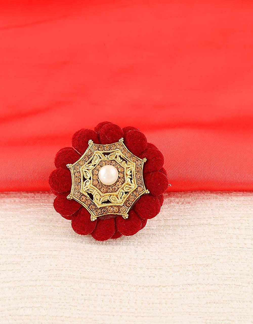 Anuradha Art Maroon Colour Flower Inspired Wonderful Sari//Saree Pin for Women//Girls