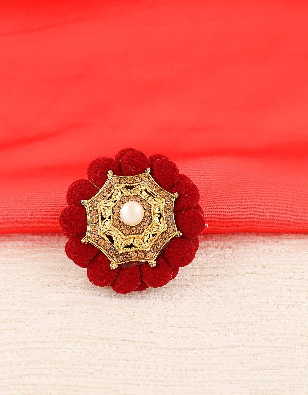 Anuradha Art Maroon Colour Flower Inspired Wonderful Sari/Saree Pin for Women/Girls by Anuradha Art (Image #2)