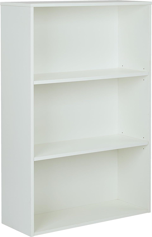 Pro-Line II / OSP Designs Prado 3-Shelf Bookcase with 3/4-Inch Shelves and 2 Adjustable Shelves, 48-Inch, White