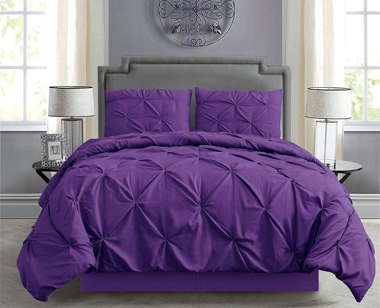 Empire Home 4 Piece Pintuck Comforter Set Matching Pillowcases (Purple, Queen)