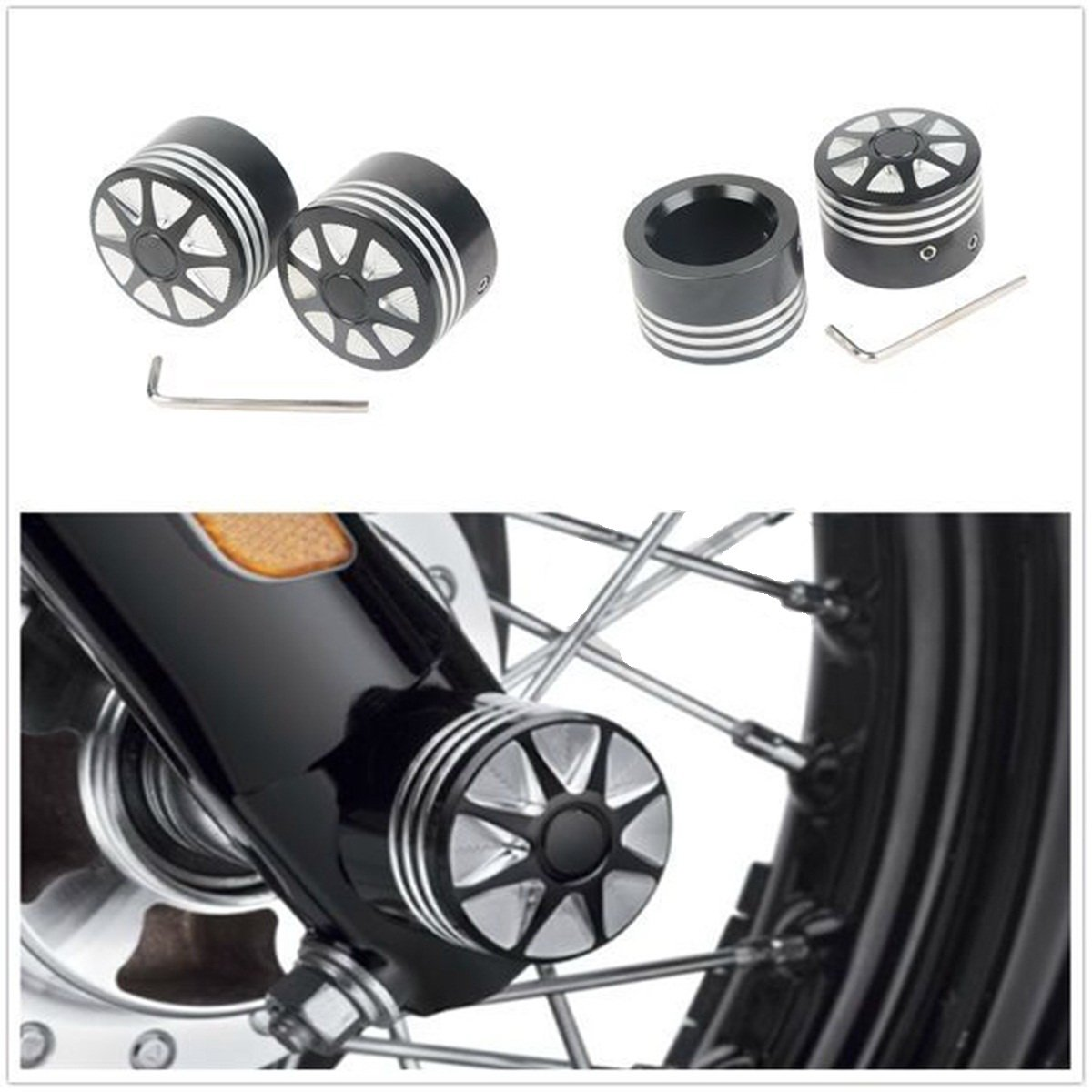 Black Front Axle Nut Cover Bolt For Harley Touring Softail Road King Glide FLTR