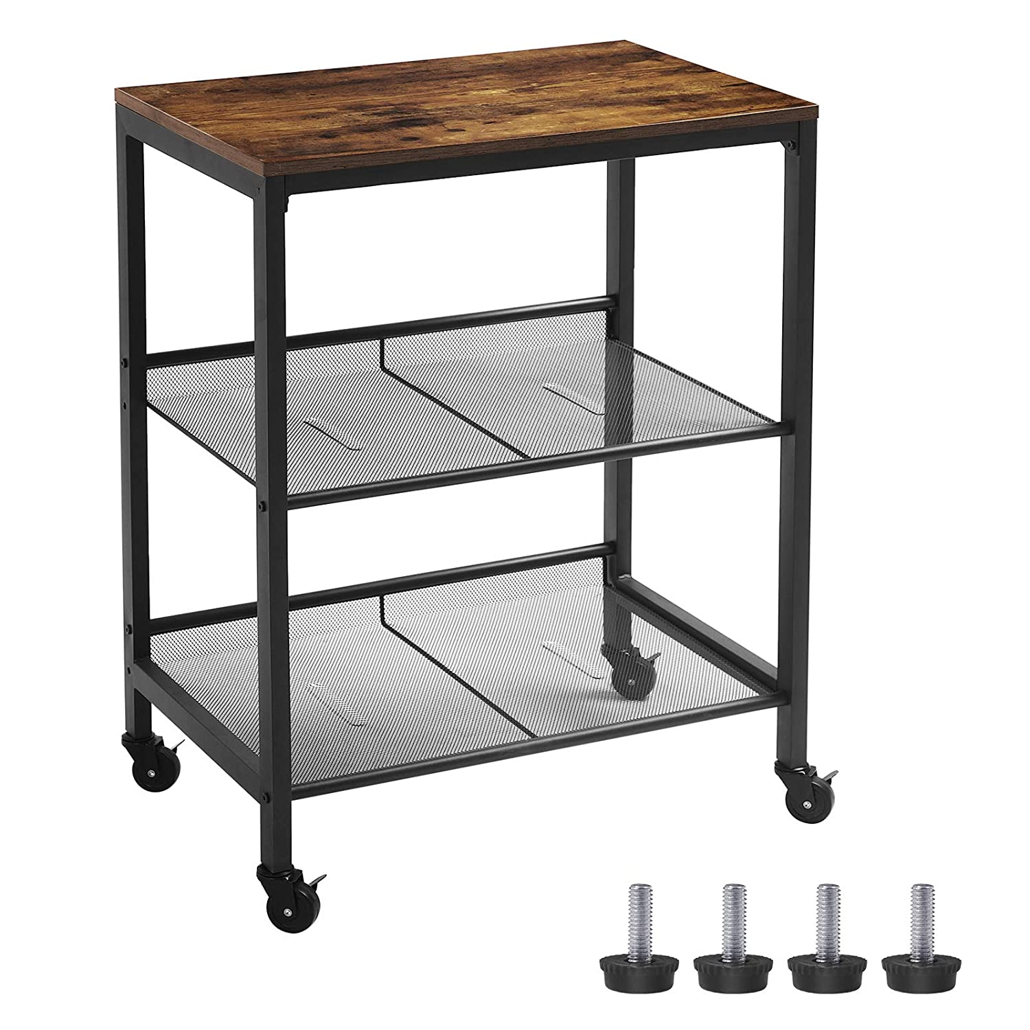 HOOBRO Serving Cart, 3-Tier Kitchen Utility Cart on Wheels, Storage Shelves with Adjustable Feet, Industrial Design, for Kitchen and Living Room, Bedroom, Entryway, Easy Assembly, Rustic Brown
