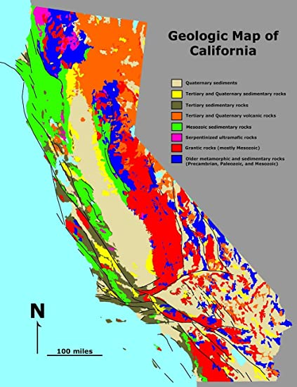 Geologic Map Of California Amazon.com: Gifts Delight Laminated 24x31 Poster: Geologic map  Geologic Map Of California