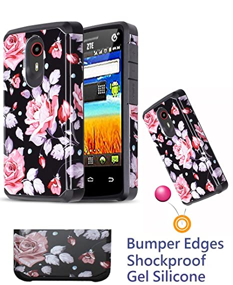 info for 0454f 4254f for ZTE Uhura ULTRA Quest LEGACY N817 Case Phone Case Shock proof Edges  Hybrid Layers Slim Bumper Scratch Shield Cover (Roses Pink)