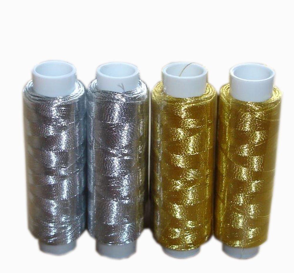 2 Gold, 2 Silber Spulen Polyester Nähgarn 250 Meter (kleine Spule Thread) Blancho Bedding