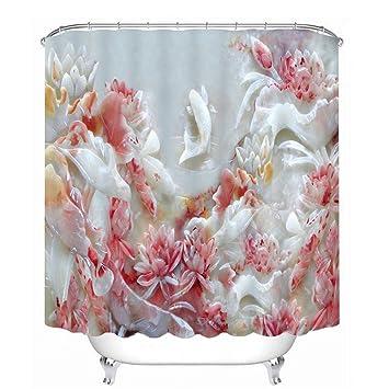 Custom 3D Duschvorhänge rosa Rose & White Swan Muster ...