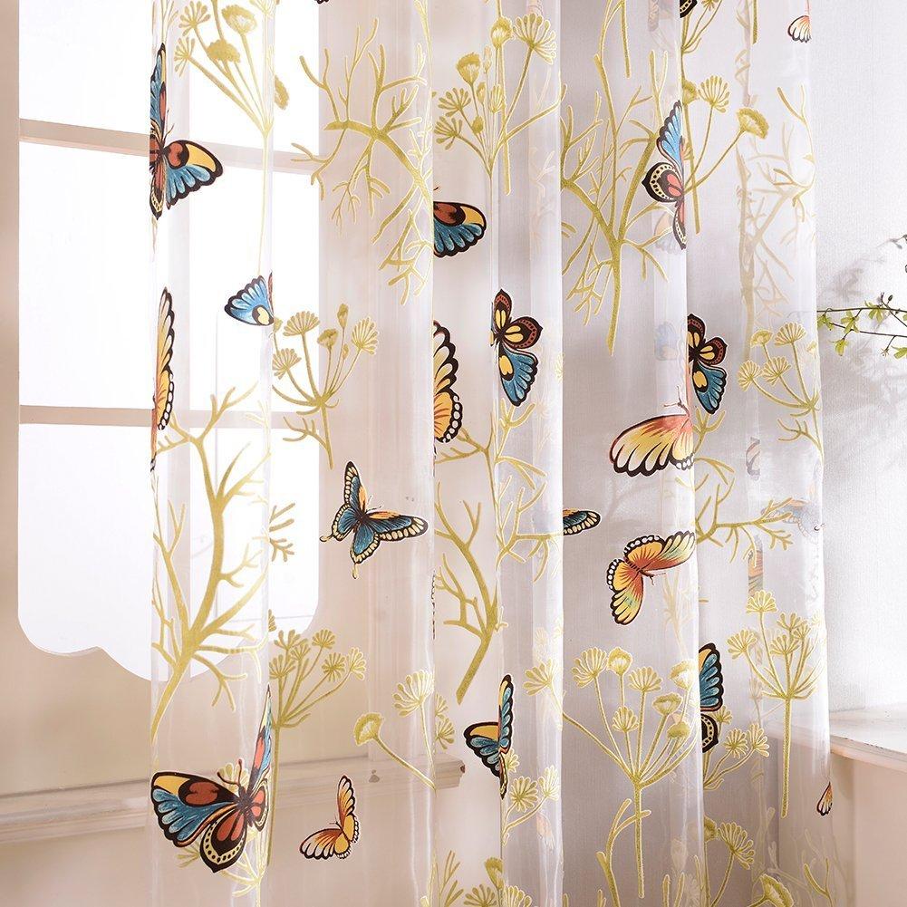 Topfinel Rideaux Voilages Broderie en Papillons Uni Decoration Chambre Rideaux /à Oeillets pour Salon Cuisine 140cmx160cm Un Panneau